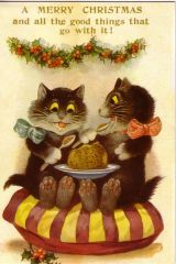 £1 Christmas Card!!! 'Merry Christmas' Vintage Cat Card Repro.