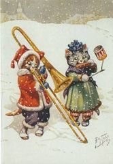 'The Duet' Super-Cute Cat Christmas Card