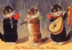The Musicians. Vintage Cat Illustration Birthday Card.