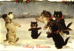 The Snowball. Vintage Cat & Dog Illustration Christmas Card