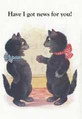 Have I Got News For You! Vintage Black Cat Illustration Correspondence Card.