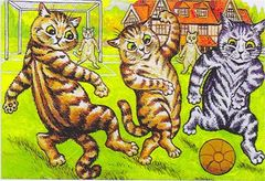 On The Ball. Vintage Louis Wain Illustration Greeting Card of Cats Playing Football.