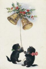 £1 Christmas Card!!! 'Ringing in the New Year' Vintage Black Cat Holiday Card Repro.