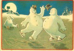'Oops!' Fun Vintage Christmas Card of Snowmen Skating