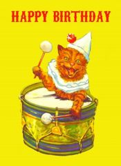 Happy Birthday Cat. Joyous Vintage Illustration Greeting Card.
