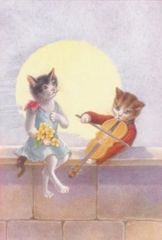 Moonlight Serenade. Vintage Romantic Illustration Greeting Card. Courting Cats.