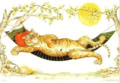 Easy Livin' Vintage Tiger Illustration Greeting Card.