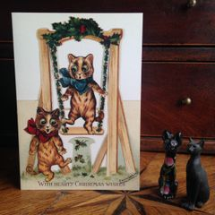 £1 Christmas Card!!! Vintage Louis Wain Cat Greeting Card Repro.