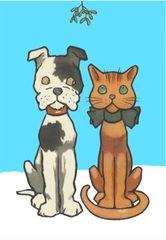 'A Christmas Kiss?' Super-Cute Dog & Cat Christmas Card