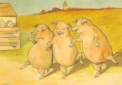 'The Dancing Pigs' Fun Vintage Pig Greeting Card Repro
