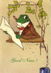 'Good News!' Vintage Frog Announcement Card