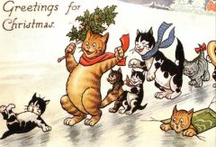£1 Christmas Card!!! 'Greetings For Christmas' Vintage Cat Card Repro.