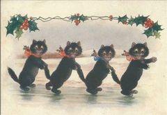 'The Skating Party' Fun Vintage Black Cat Christmas Card Repro