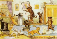 The Cleaners. Louis Wain Illustration Greeting Card.