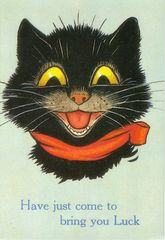 Have Just Come to Bring You Luck. Vintage Black Cat Good Luck Card