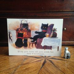 £1 Christmas Card!!! 'Christmas Wishes' Vintage Black Cat Greeting Card Repro.