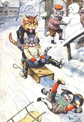 Look Out! Vintage Cat Illustration Christmas Card. Arthur Thiele.