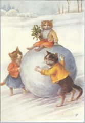 £1 Christmas Card!!! 'What a Big Snowball!' Vintage Cat Card Repro.