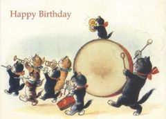The Birthday Band. Vintage Cat Illustration Birthday Card.