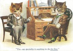 £1 Card!!! 'The Fee-line' Humorous Vintage Cat illustration Greeting Card. Professional Talk