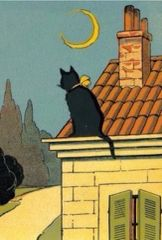 Contemplation. Vintage Black Cat Correspondence Card. Apt for Condolence or Bereavement.