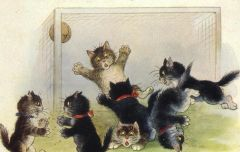 £1 Card!!! 'Missed!' Vintage Cat Illustration Greeting Card.