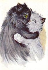 £1 Card!!! 'The Loving Couple' Vintage Black Cat Illustration Greeting Card.