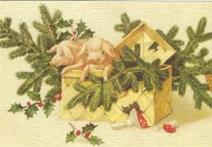 £1 Christmas Card!!! 'The Surprise Present' Vintage Pig Christmas Card Repro.