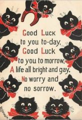 Good Luck To You!. Black Cat Good Luck Card with Illustration by Louis Wain.