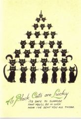 A Pyramid of Cats. Edwardian Illustration Black Cat Good Luck Card.