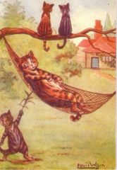The Little Rascal. Fun Louis Wain Illustration Greeting Card.