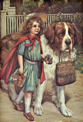 'The Guardian' Beautiful Card of Young Girl with her Saint Bernard Dog