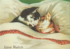 £1 Card!!! 'The Love Match' Vintage Love Cats Illustration Greeting Card.