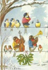 Fantastic Vintage Bird Christmas Card Repro