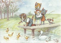 Feeding Time. Sweet Greeting Card of Cats Feeding Ducks in the Park