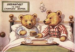 Breakfast in Bed. Vintage Teddy Bear Illustration Greeting Card
