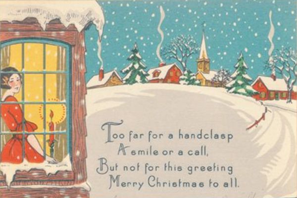 Greetings From Afar Art Deco Christmas Card For Distant Friends