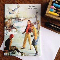 Alternative Vintage Christmas Card Showing Wintry Snow Scene Plane Crash!
