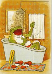'Singing in the Rain' Fun Vintage Illustration of Frog in the Bath Tub
