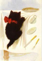 £1 Card!!! 'Temptation' Vintage Black Cat Illustration Greeting Card.