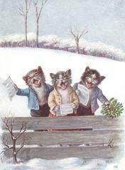 'Cat Carols' Adorable Vintage Cat Christmas Card Repro