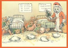 Father Christmas is Here! Louis Wain Illustration Christmas Card