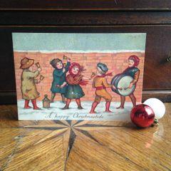 £1 Christmas Card!!! 'The Christmas Band' Traditional Victorian Christmas Card Repro