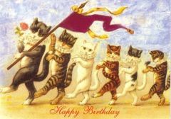 The Birthday Parade. Vintage Cat Illustration Greeting Card. Happy Birthday.