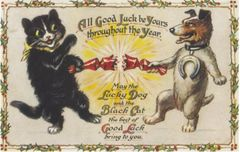 Good Luck at Christmas. Fun Illustration of a dog and cat pulling a cracker.