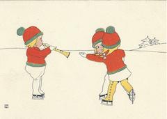 £1 Christmas Card!!! 'Dancing on Ice' Vintage Christmas Card Repro.