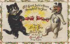 Good Luck for Christmas! Edwardian Cat and Dog Illustration Christmas Card