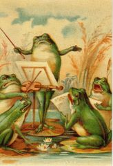 'Frogs in Harmony' Vintage Frog Greeting Card Repro.