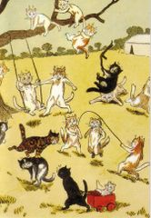 £1 Card!!! 'Fun and Games' Vintage Cat Greeting Card Repro. Illustration by Louis Wain.