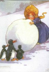 Edwardian Girl with Penguins Fun Vintage Card Repro